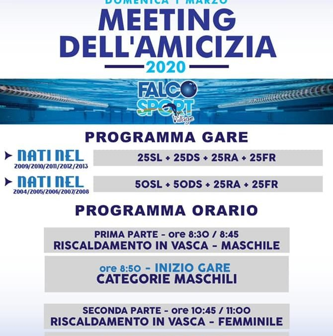 Meeting dell'amicizia 2020